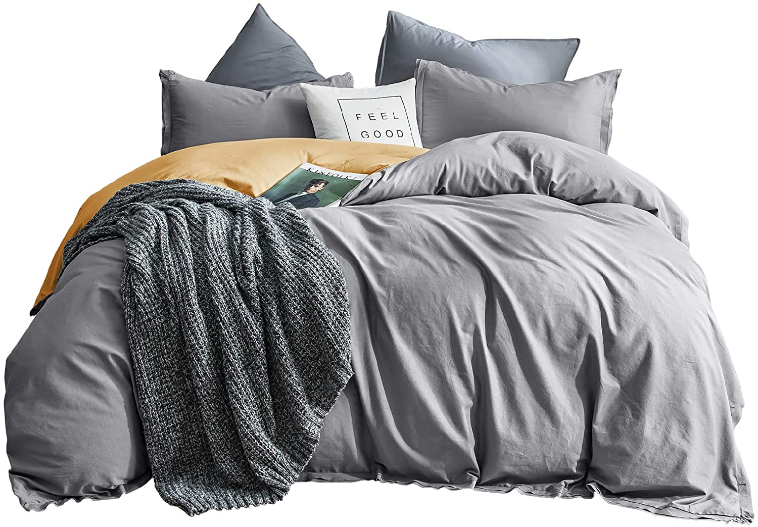 SHALALA NEW YORK Cotton Duvet Cover Set 3 Piece - 1 Duvet Cover 2 Pillow Shams - Soft Pre-Washed Garment with Self Flange – Four Woven Cotton Bands to Keep Comforter in Place Gray & Yellow Full/Queen