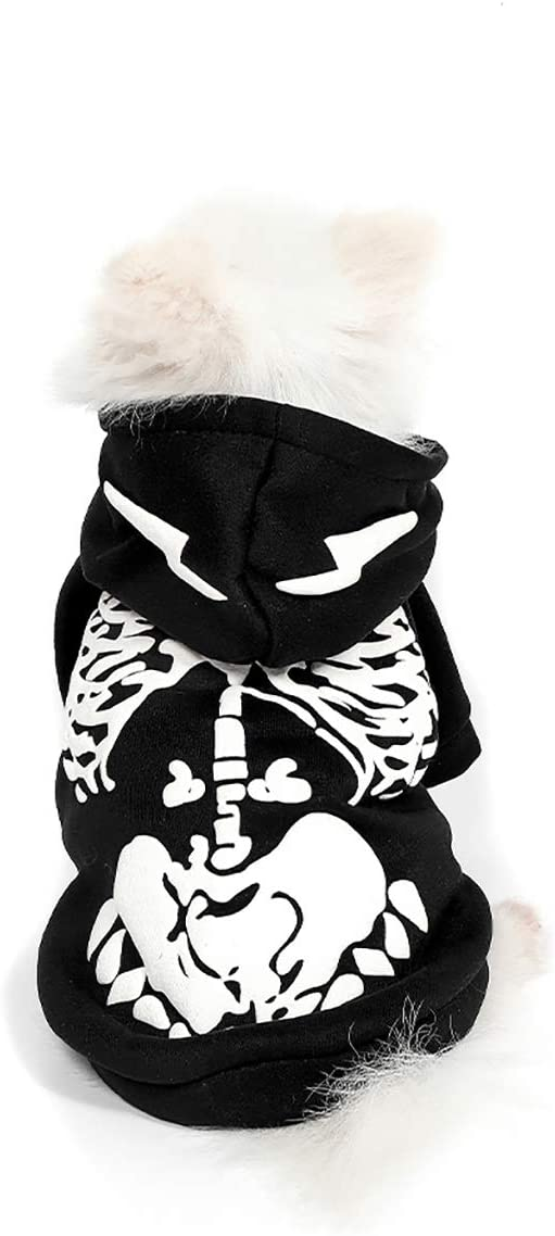 Mogoko Dog Cat Skeleton Costumes, Pet Halloween Cosplay Dress, Funny Skeleton Costume for Dogs
