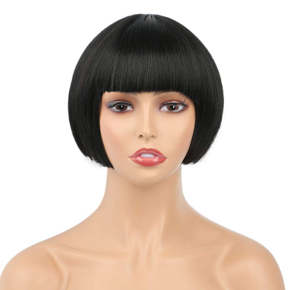 8 Inch Short Straight Bob Wig with Bangs Synthetic Colorful Cosplay Daily Party Flapper Wig for Women and Kids with Wig Cap (1B#- Off Black) (1B)