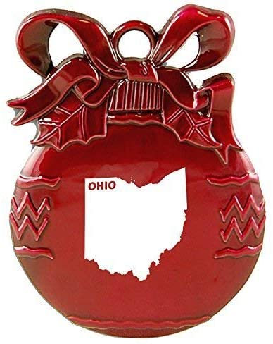 Ohio-State Outline-Christmas Tree Ornament-Red