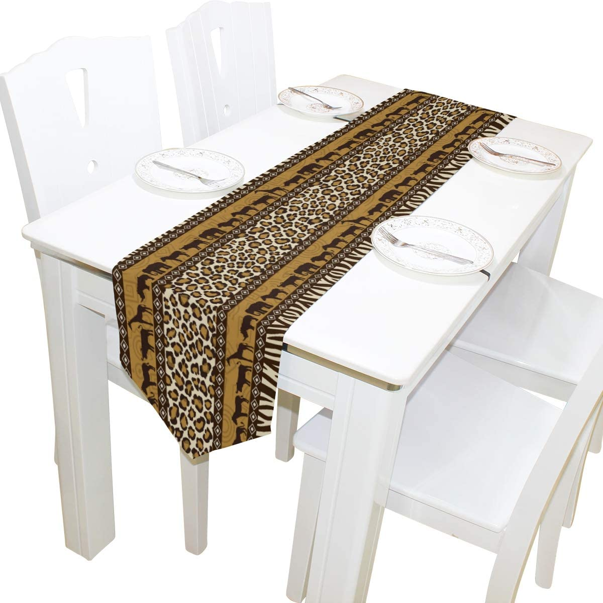 WOOR Double-Sided African Decor Giraffe Elephant Animal Leopard Print Table Runner 13 x 70 Inches Long,Table Cloth Runner for Wedding Party Holiday Kitchen Dining Home Everyday Decor
