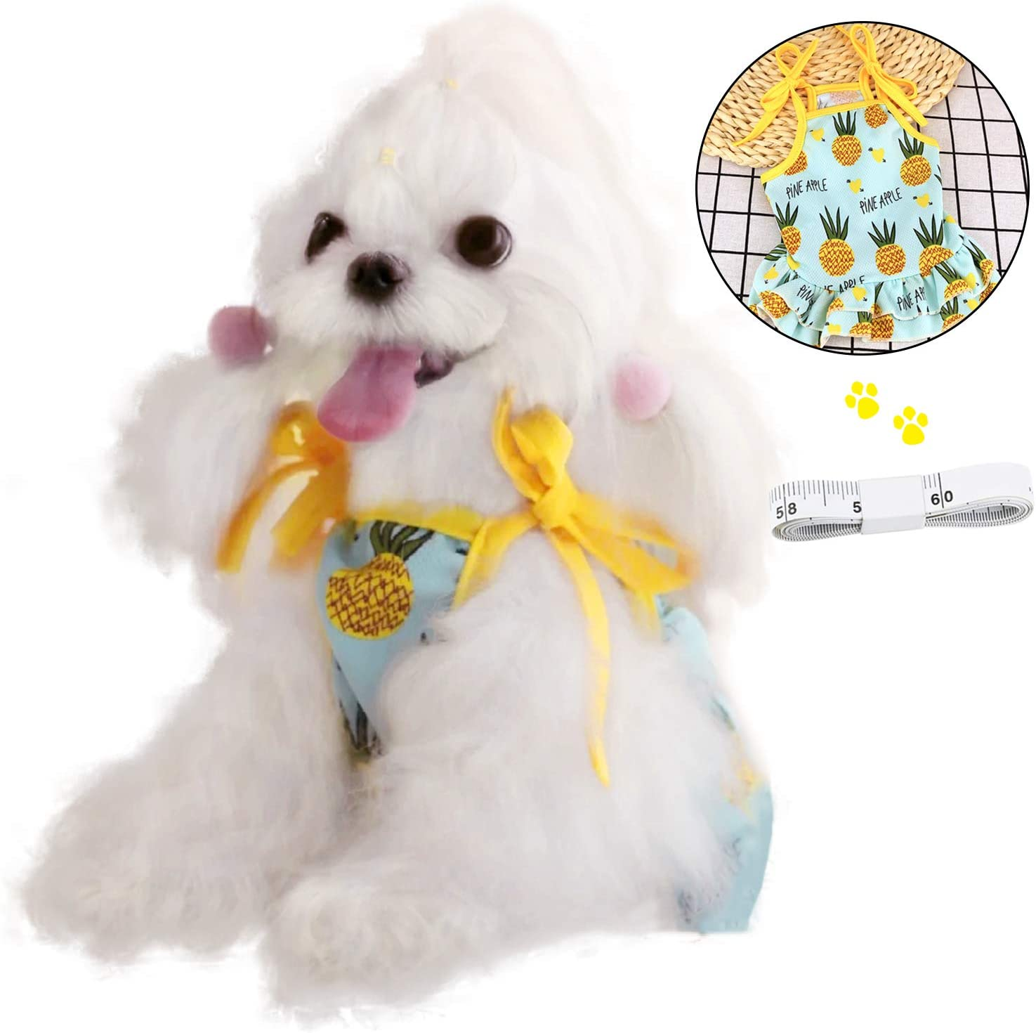 N\A Dog Dress, Fashionable Pineapple Sundress Clothes, Gift Tape Measure, for Small Medium Dog/Puppy, and Cat