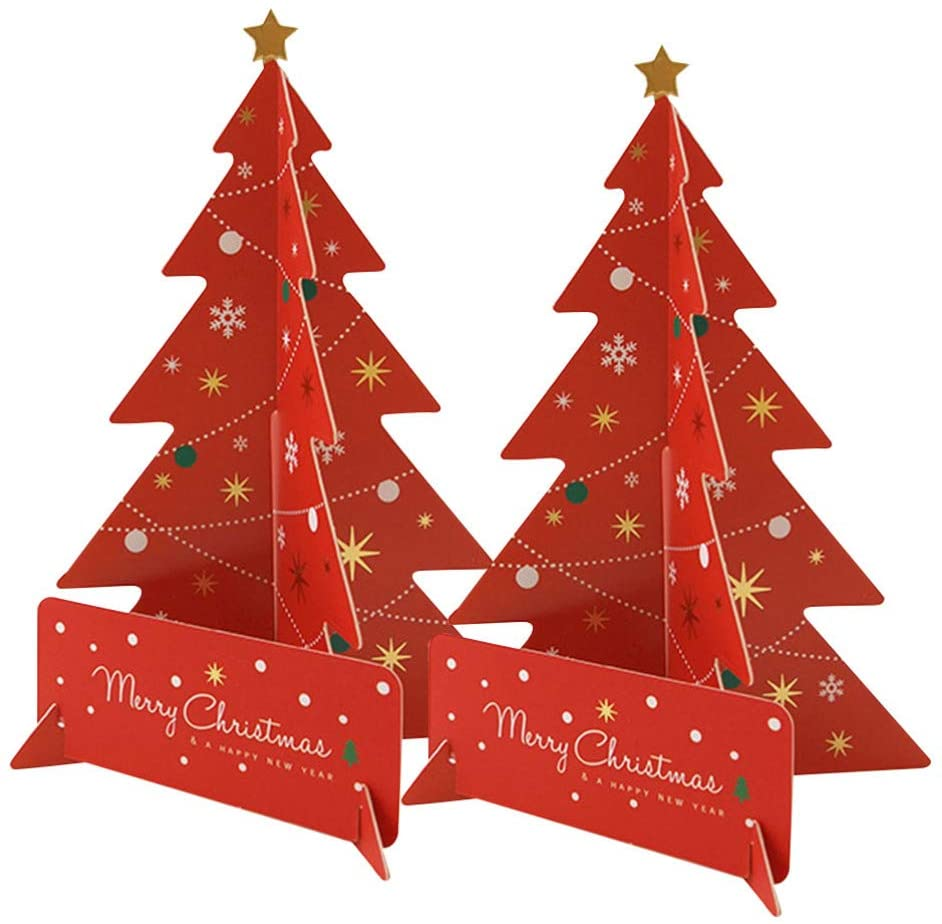 Amosfun 2 Set 3D Greeting Christmas Cards Holiday Birthday Pop Up Cards Gift Cards with Envelope