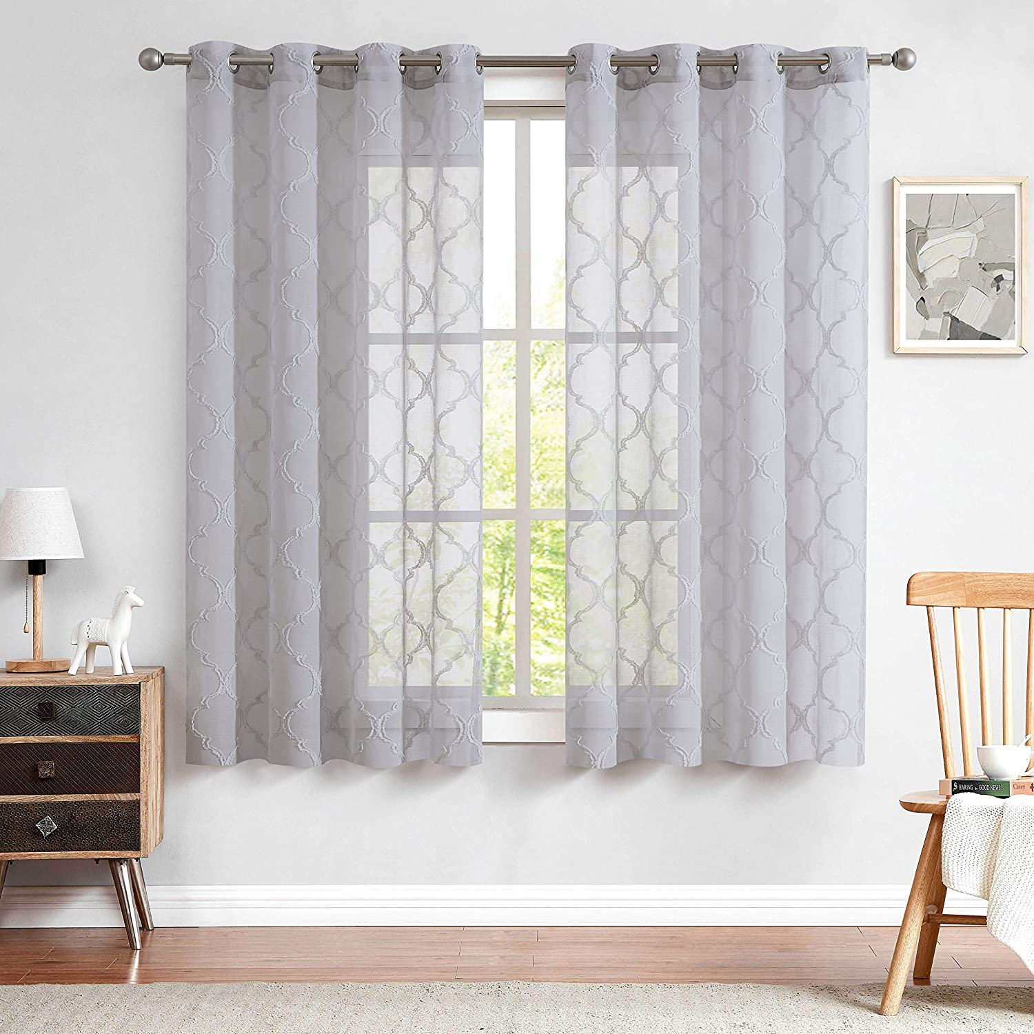 Romantex Grey Sheer Curtains 63 inches Long with Texture Moroccan Trellis Pattern Window Voile Sheers Design Textured for Bedroom/Living Room Grey,52