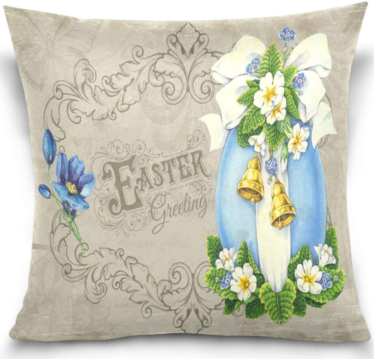 Olinyou Vintage Easter Egg Flowers Throw Pillow Cases Decorative Square Pillowcase Cushion Cover 16 x 16 Inch