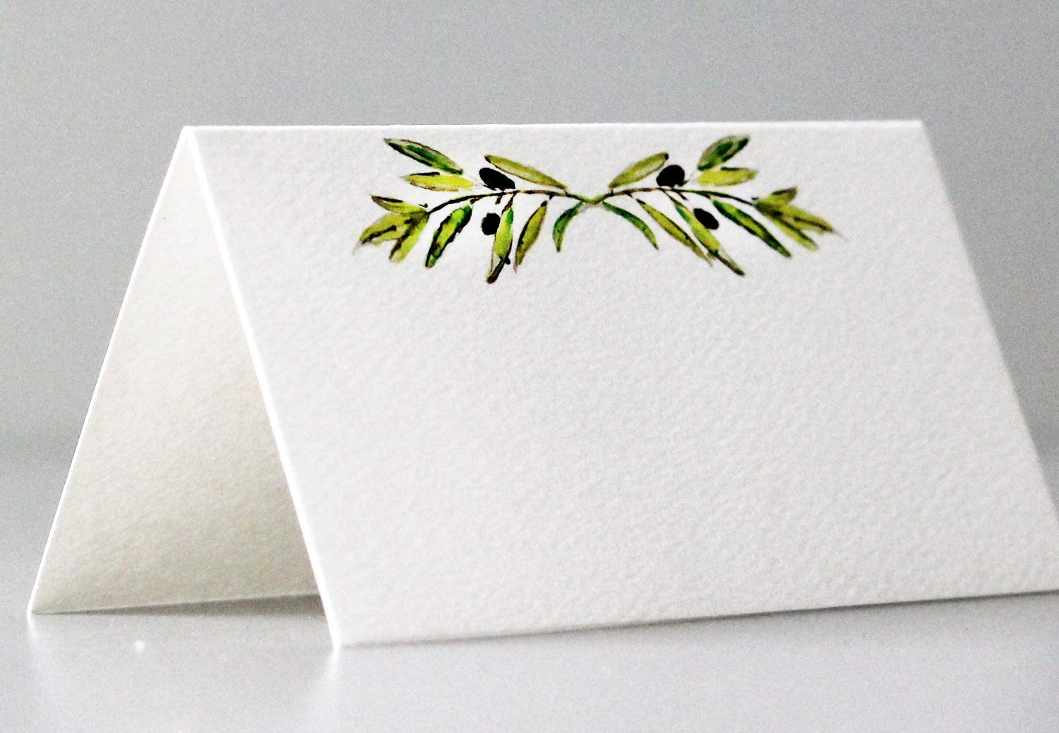 Nancy Nikko Place Cards with Green Leafy Olive Branch for Weddings, Showers, and Dinner Parties. Table Tent Style, Scored for Easy Folding. Available in Pkgs of 12/25 / 50 (50)