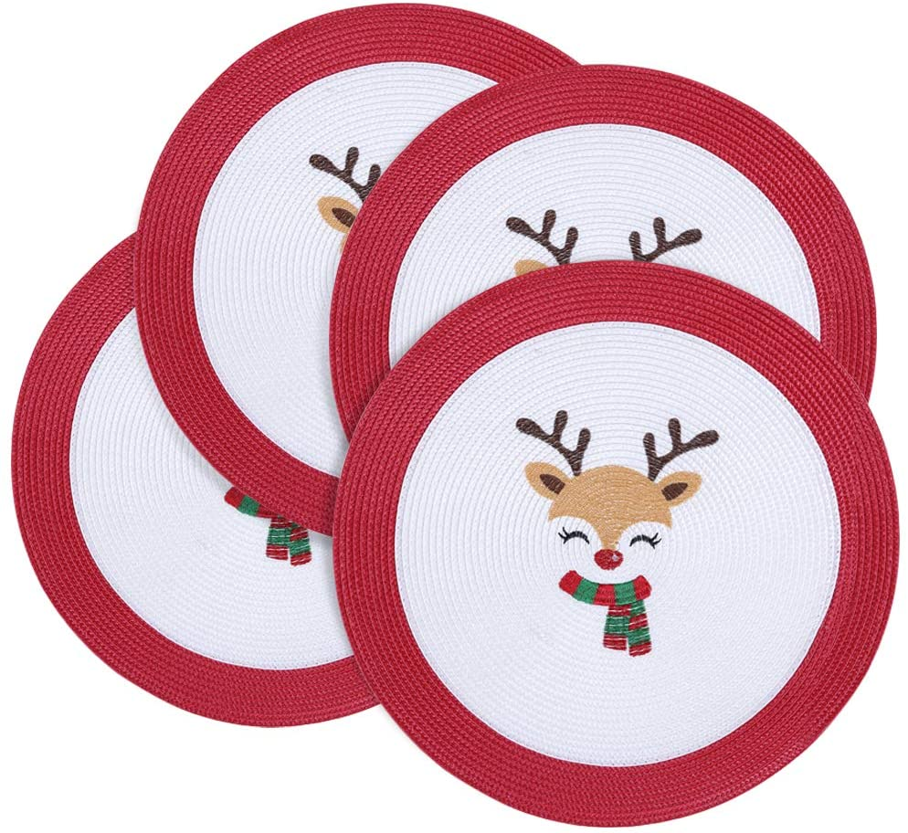 Homaxy Round Braided Christmas Placemats for Dining Table Set of 4 - Woven Heat Resistant Non-Slip Scarf Reindeer Kitchen Table Mats, 15