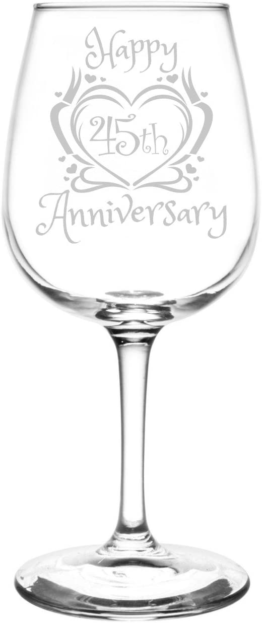 (45th) Heart & Ribbon Happy Anniversary Inspired - Laser Engraved 12.75oz Libbey All-Purpose Wine Taster Glass