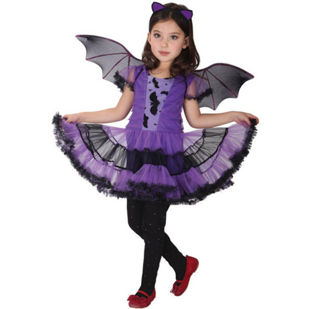 Keepfit Toddler Kids Baby Girl Halloween Costume Cosplay Dress, Hair Hoop and Bat Wing Outfit Clothes (6T-7T, Purple)