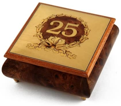 Handcrafted 25th Anniversary or Birthday with Ornament Frame Musical Jewelry Box - Many Songs to Choose - 12 Days of Christmas