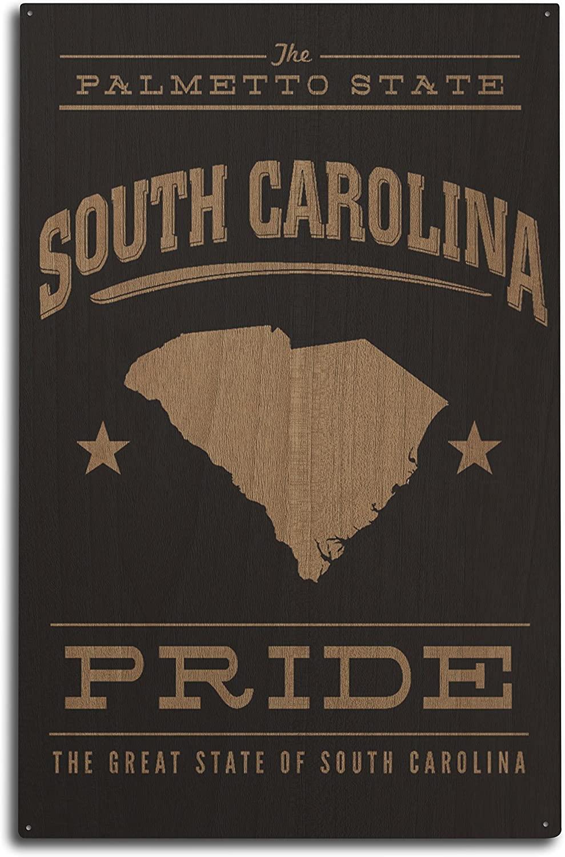 Lantern Press South Carolina State Pride - Gold on Black (10x15 Wood Wall Sign, Wall Decor Ready to Hang)