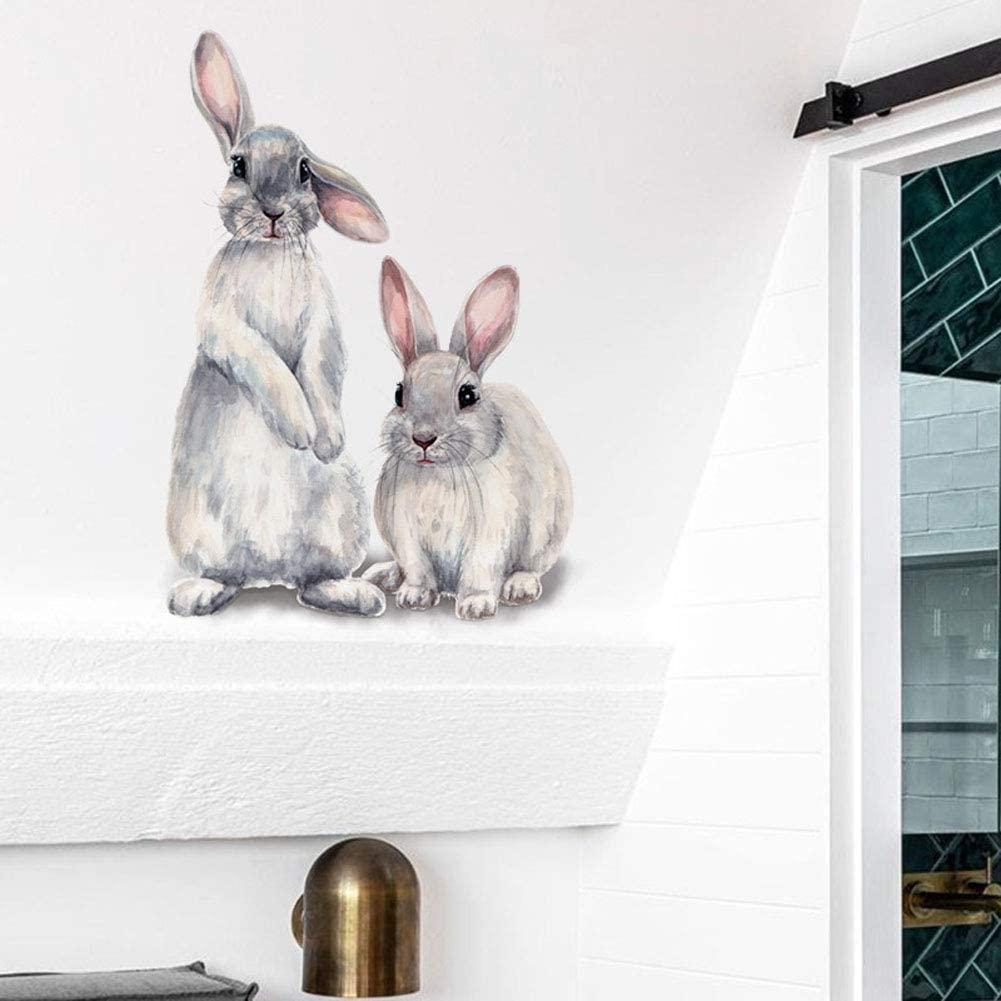 KOVCOAP Cartoon Rabbit Art Decals Bunny Wall Stickers Waterproof Vinyl Self Adhesive Removable Murals for Kids Room Bedroom Nursery Toddler House DIY Decoration Wall
