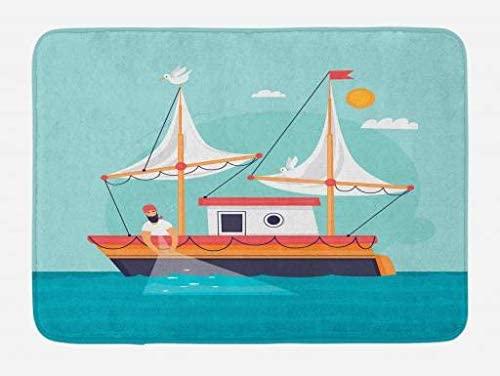 Lunarable Fish Net Bath Mat, Fisherman at Sea Fishing on His Boat in a Sunny Day Sailing Ship Yacht Concept, Plush Bathroom Decor Mat with Non Slip Backing, 29.5