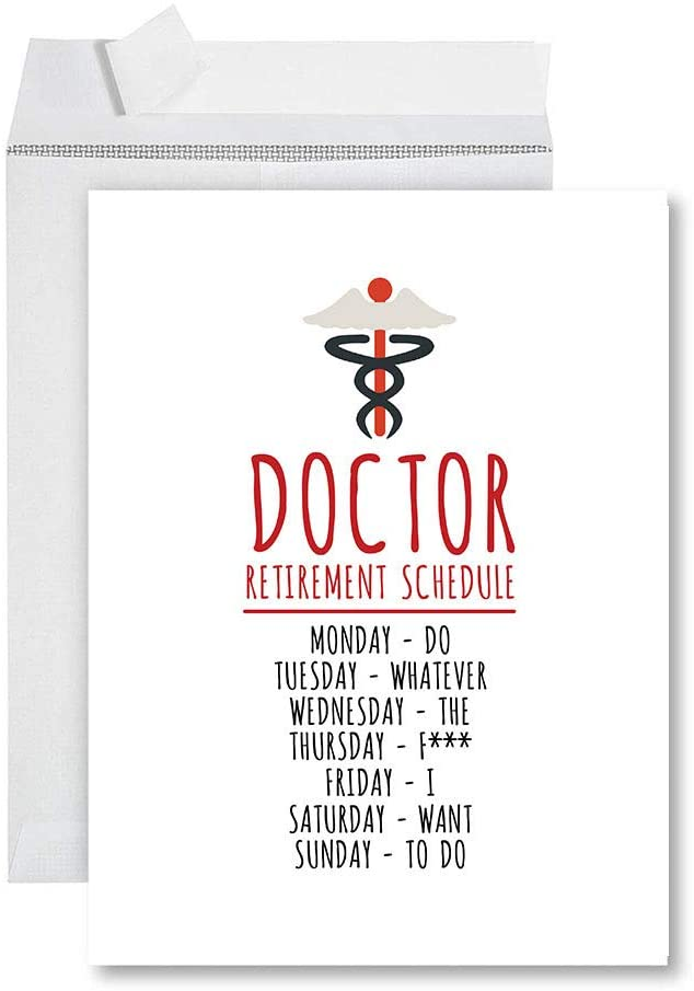 Andaz Press Funny Jumbo Retirement Card With Envelope 8.5 x 11 inch, Greeting Card, Doctor Retirement Schedule