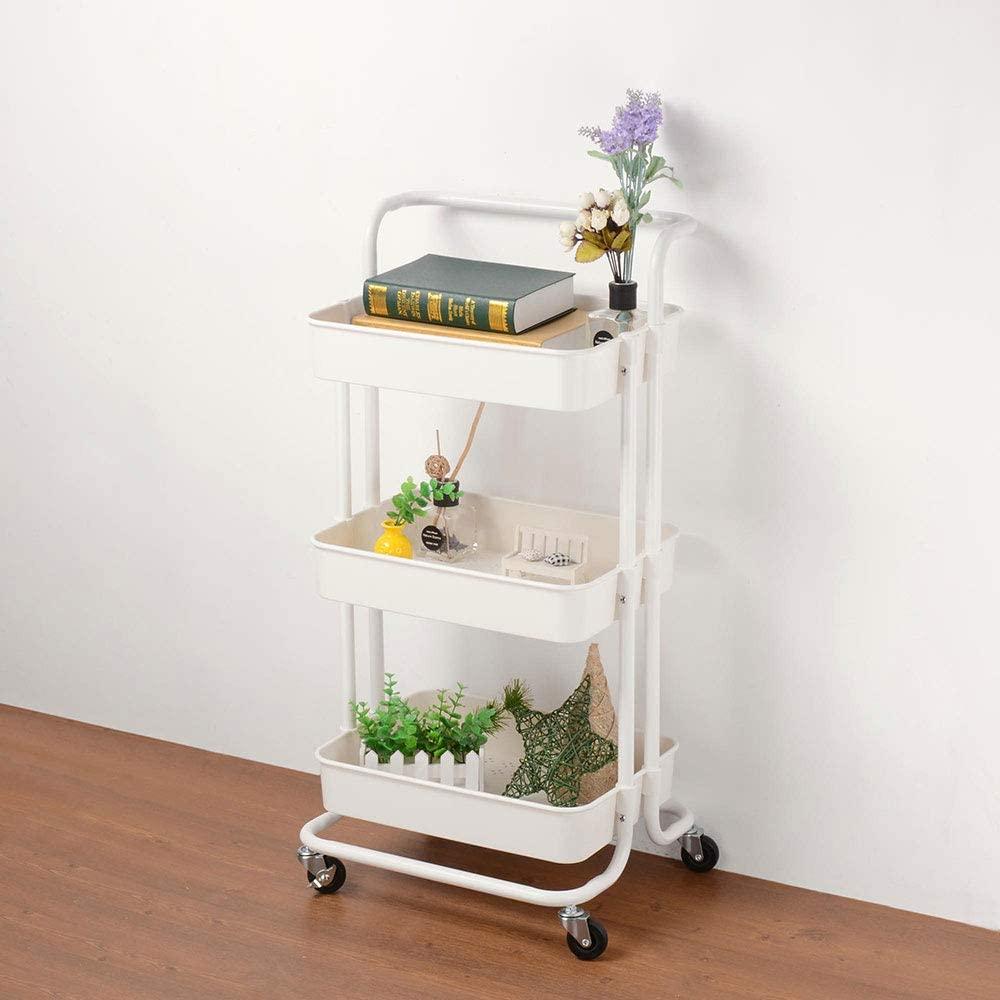 Aquaterior 3 Tiers Rolling Cart Metal Utility Cart Mobile Storage Cart Organizer White