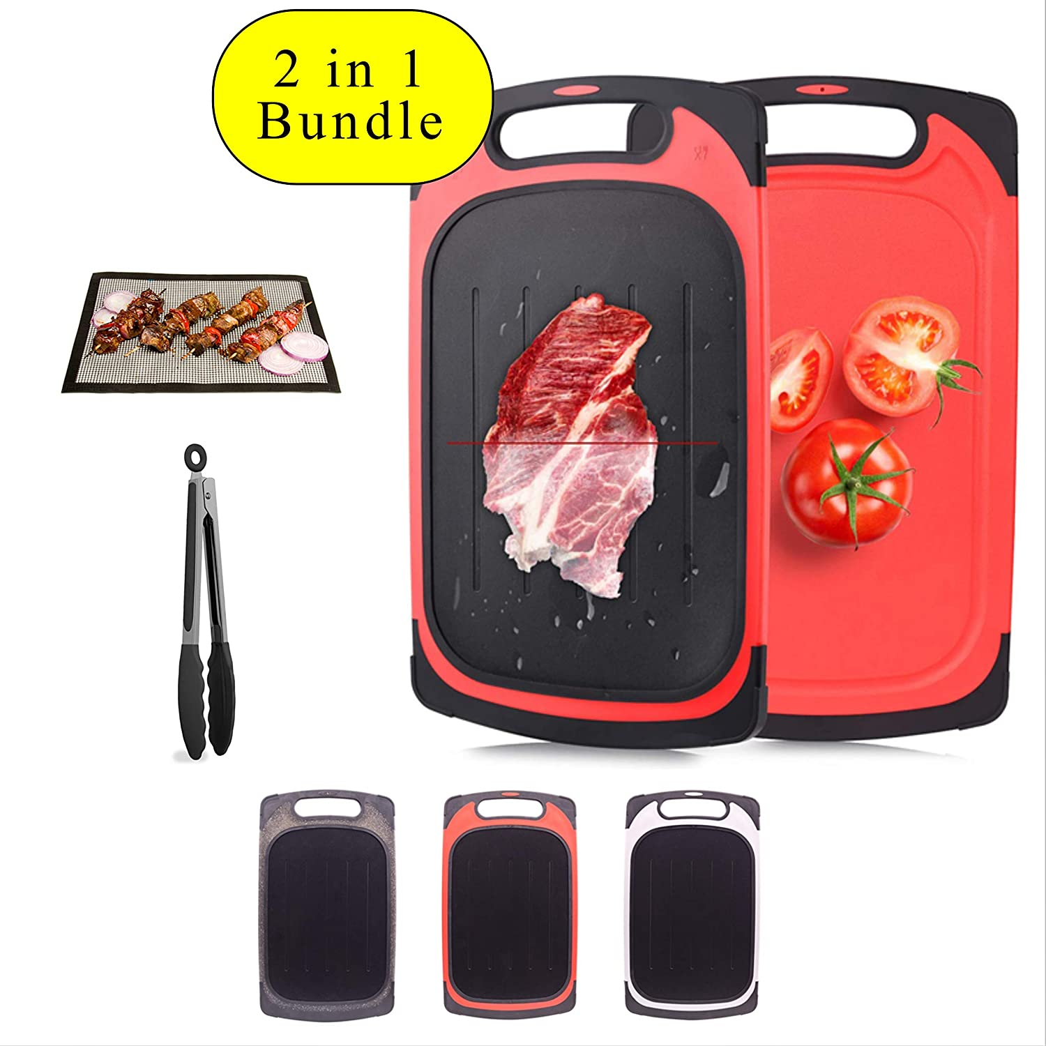 2 In 1 Four Piece Bundle Set MultiFunction Fast Meat Thawing Defrosting Tray/Plate & Cutting/Chopping Board Set Includes Grill Mat,Tongs. Defrost Steak,Chicken,Pork,Fish,Vegetables & Chop Up Food GREY