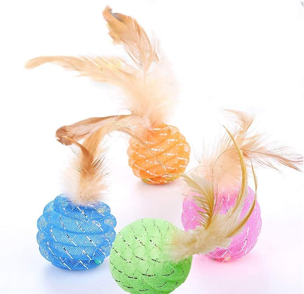 Aduck Interactive Cat Ball Toys with Feather -1.8 Inches, Varieties Cute Candy Color Cat Ball with Bells Keep Busy for Your Cats, Non-Toxic and Lightweight, Pack of 4