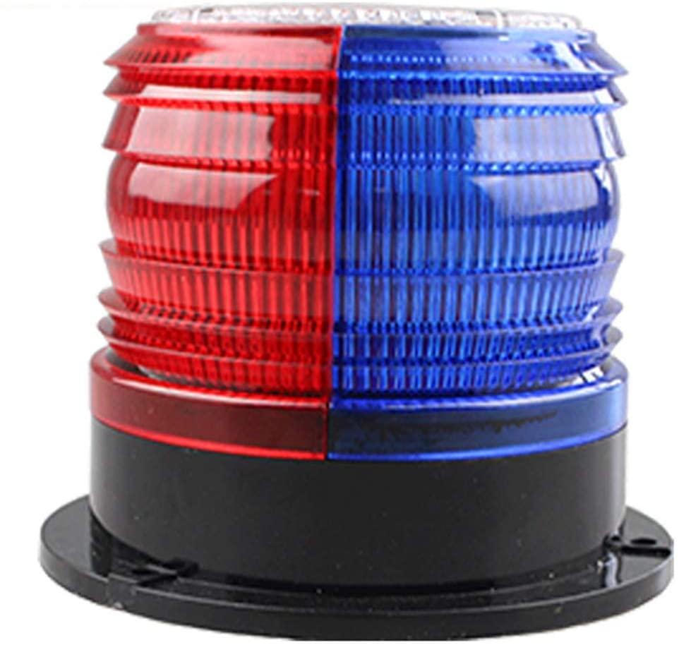 RISOON Solar Strobe Warning Light with Strong Magnetic Base Waterproof Flash Warning Light Ceiling Strobe Light Traffic and Road Beacon Light, Indicator Light, Ceiling Alarm Light (Red+Blue)