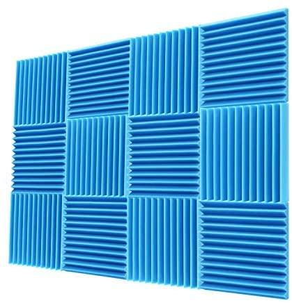 "Acoustic Foam Panels 1""x12""x12"" Sound Proof Padding Soundproofing Studio Foam Wedges (12 Square Feet)"