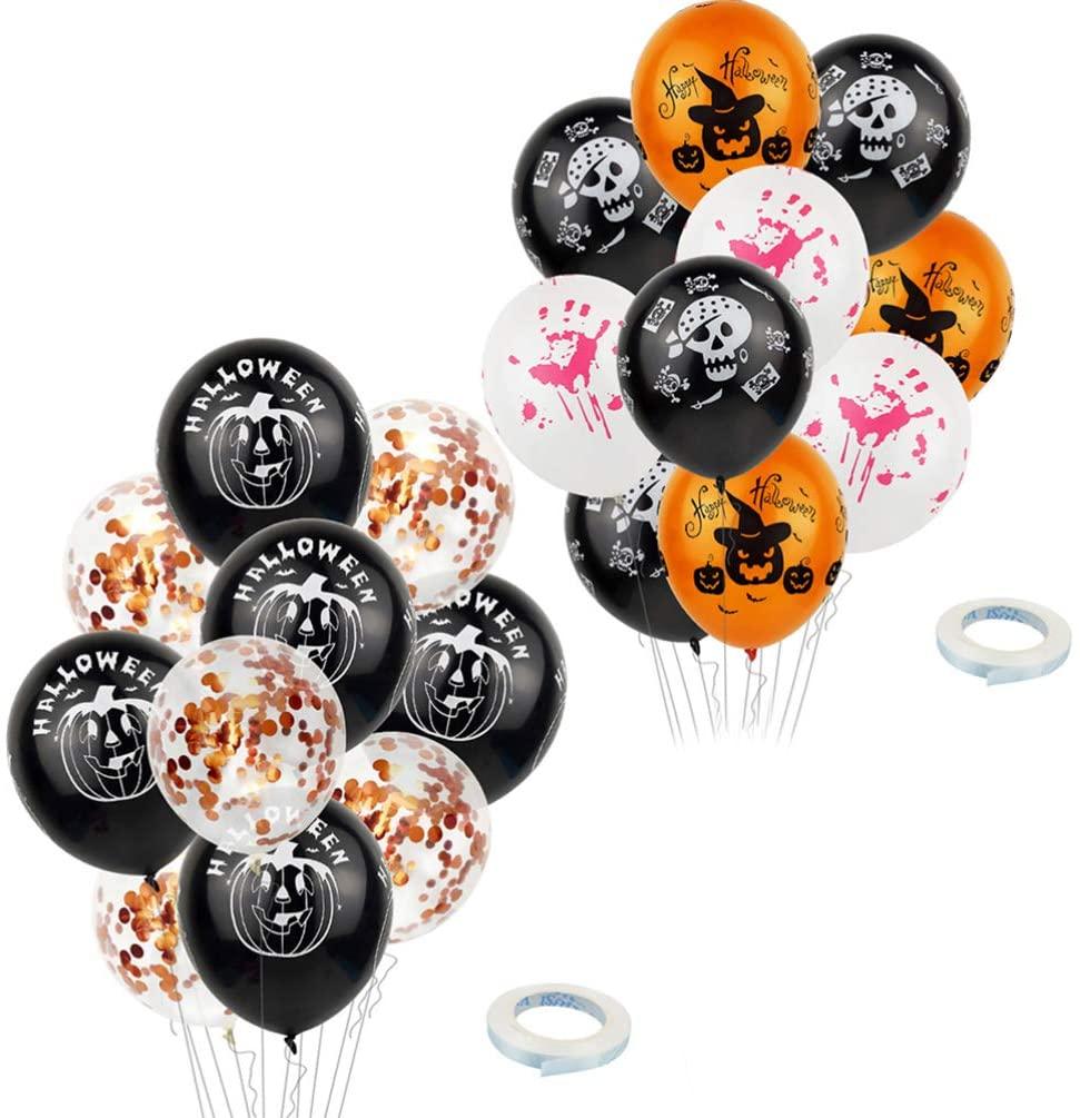 Wakauto 20pcs 12 Inch Halloween Decorations Latex Balloons Halloween Fun Party Balloons with 5 Halloween Pattern