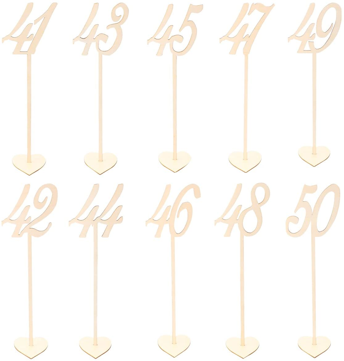 LUOEM 10pcs Wooden Table Numbers 41-50 with Holder Base for Wedding Birthday Party Table Decoration