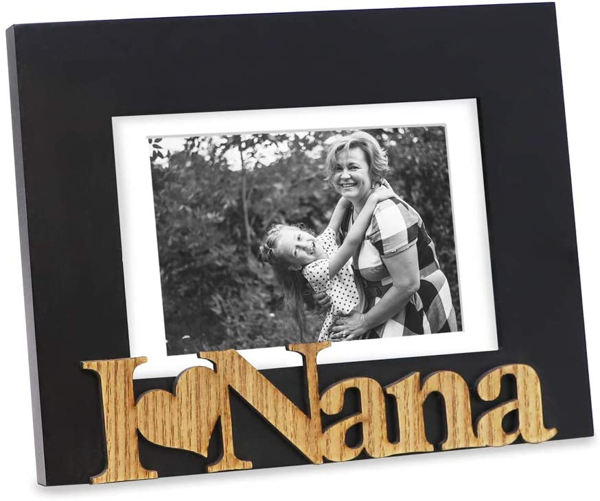 """Isaac Jacobs Black Wood Sentiments """"I Love Nana"""" Picture Frame, 5x7 inch with Mat, Photo Gift for Nana, Grandma, Family, Display on Tabletop, Desk (Black, 5x7 (Matted 4x6))"""