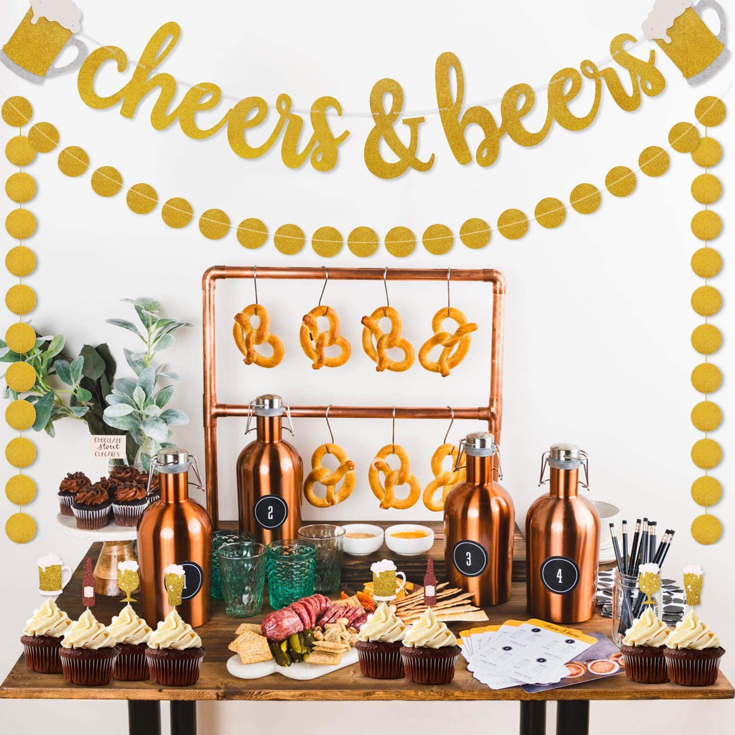 Cheers & Beers Banner Decorations, Gold Glitter Dots Garland for Birthday Wedding Anniversary Graduation Bachelorette Bridal Shower Engagement, Beer Mug Stein Party Supplies Pre Strung & Ready To Hang