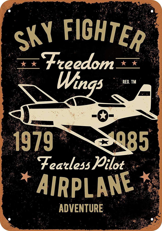 SRongmao 8 x 12 Metal Sign - Vintage Look Sky Fighter Fearless Pilot Airplane Adventure