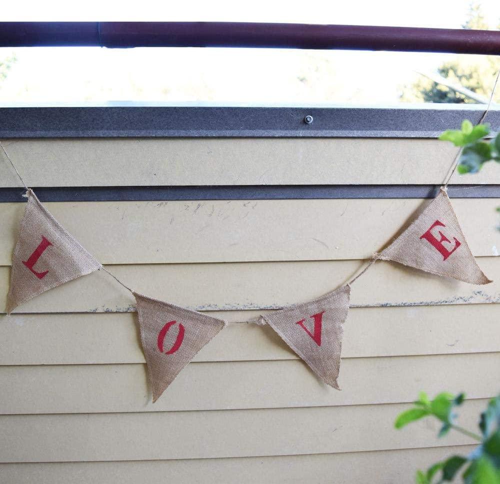 PaperLanternStore.com Love Burlap Triangle Flag Pennant Banner (5 Ft)