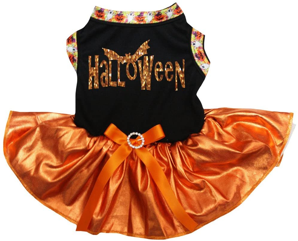 Petitebella Halloween Black Shirt Bling Orange Tutu Puppy Dog Dress