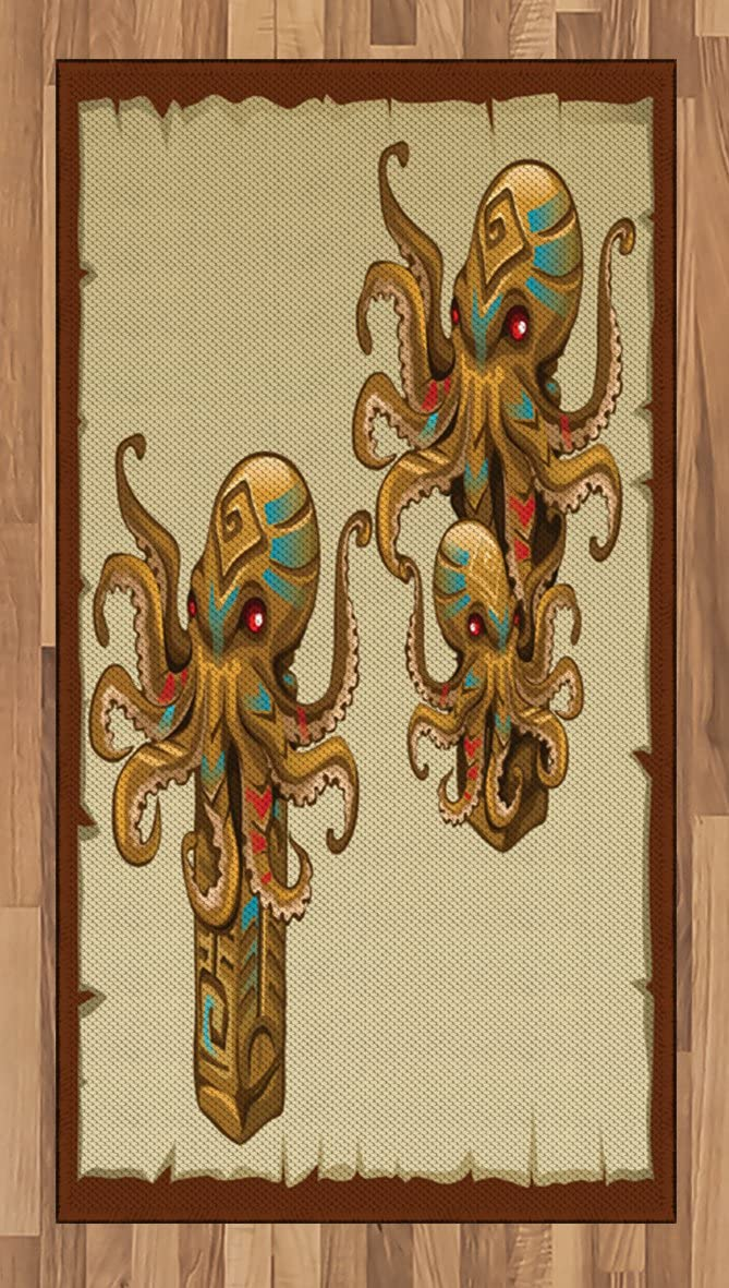 Ambesonne Octopus Area Rug, Cartoon Art Tribal Monster Kraken Sculpture Ornament Illustrations Sea Creature Print, Flat Woven Accent Rug for Living Room Bedroom Dining Room, 2.6 x 5 FT, Brown