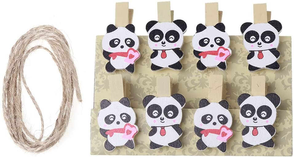 shuoyiersty 8 Pieces Panda Mini Wooden Craft Clip Photo Card Paper Peg Pin Clothespin with Rope