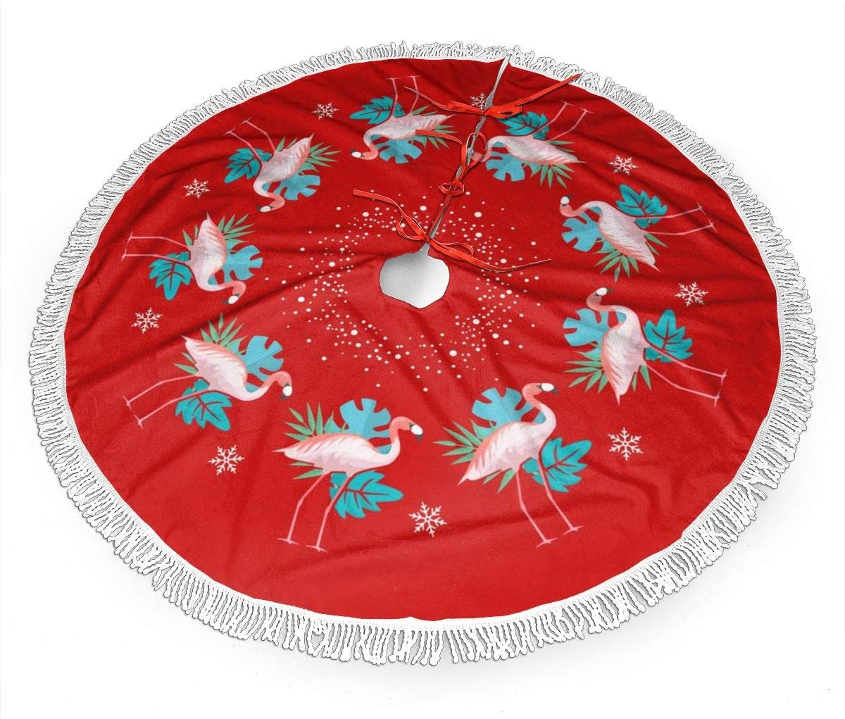 Jim Hugh Christmas Tree Skirt with White Fringed Trim, Snow Flakes and Flamingos 36 Inches Luxury Xmas Tree Skirt for Party Holiday Decorations Christmas Ornaments