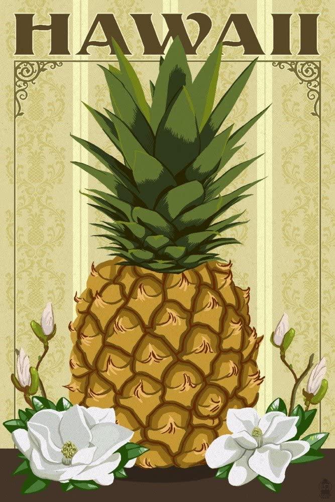 Hawaii - Colonial Pineapple (9x12 Art Print, Wall Decor Travel Poster)