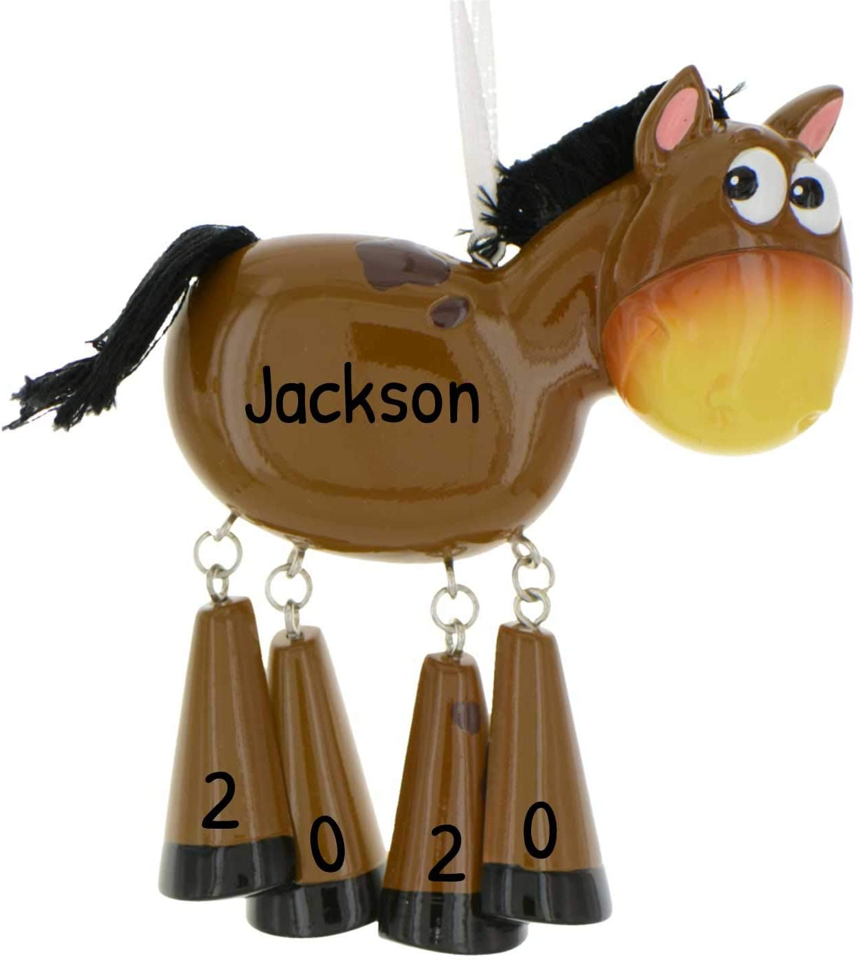 Personalized Farm Animals Christmas Tree Ornament 2020 - Brown Horse Dangling Legs Farmer Collection Industry Barnyard Ride Barrel Ridding Toy Gift Year - Free Customization