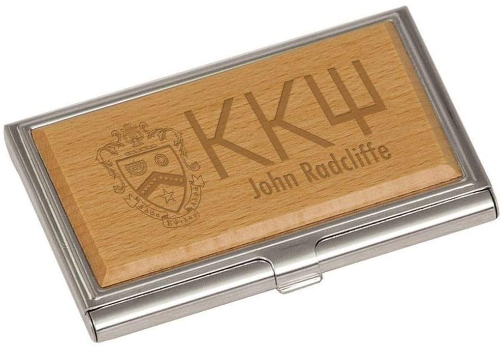 Kappa Kappa Psi Crest Wood Business Card Holder Brown w/Brown Imprint Color