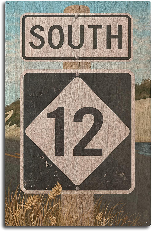 Lantern Press Outer Banks, North Carolina - Route 12 Sign #2 (10x15 Wood Wall Sign, Wall Decor Ready to Hang)