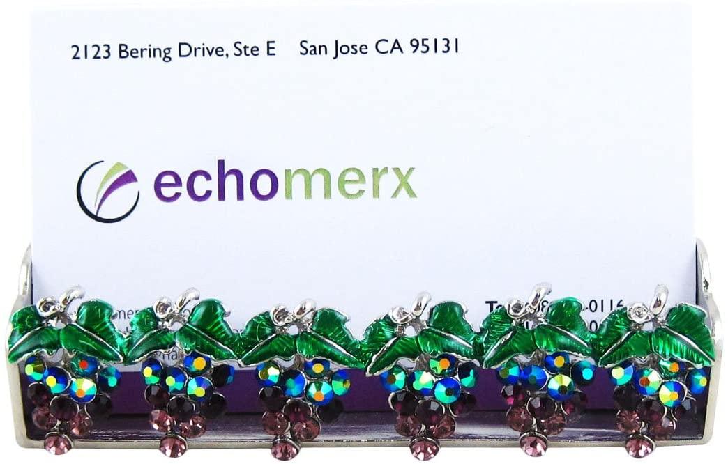 echomerx Grape Business Card Holder, Silver Tone