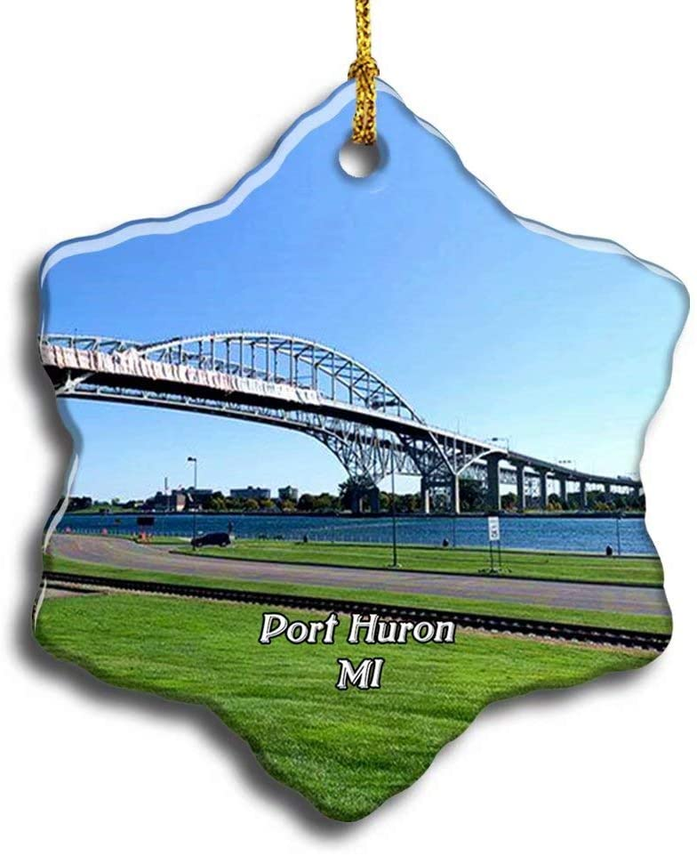 N/A Port Huron Blue Water Bridge Michigan USA America Christmas Ceramic Ornament Xmas Tree Decor Souvenirs Double Sided Snowflake Porcelain Home Gifts