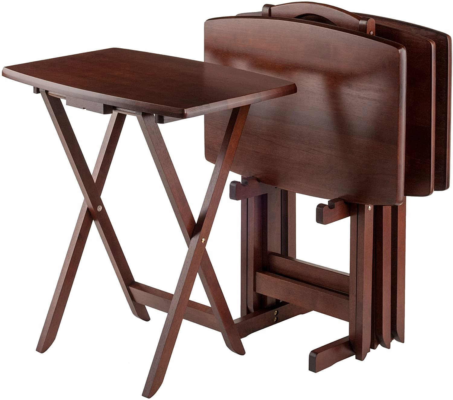 Contemporary Home Living Set of 4 Rich Walnut Oversize Folding Snack Table 25.5