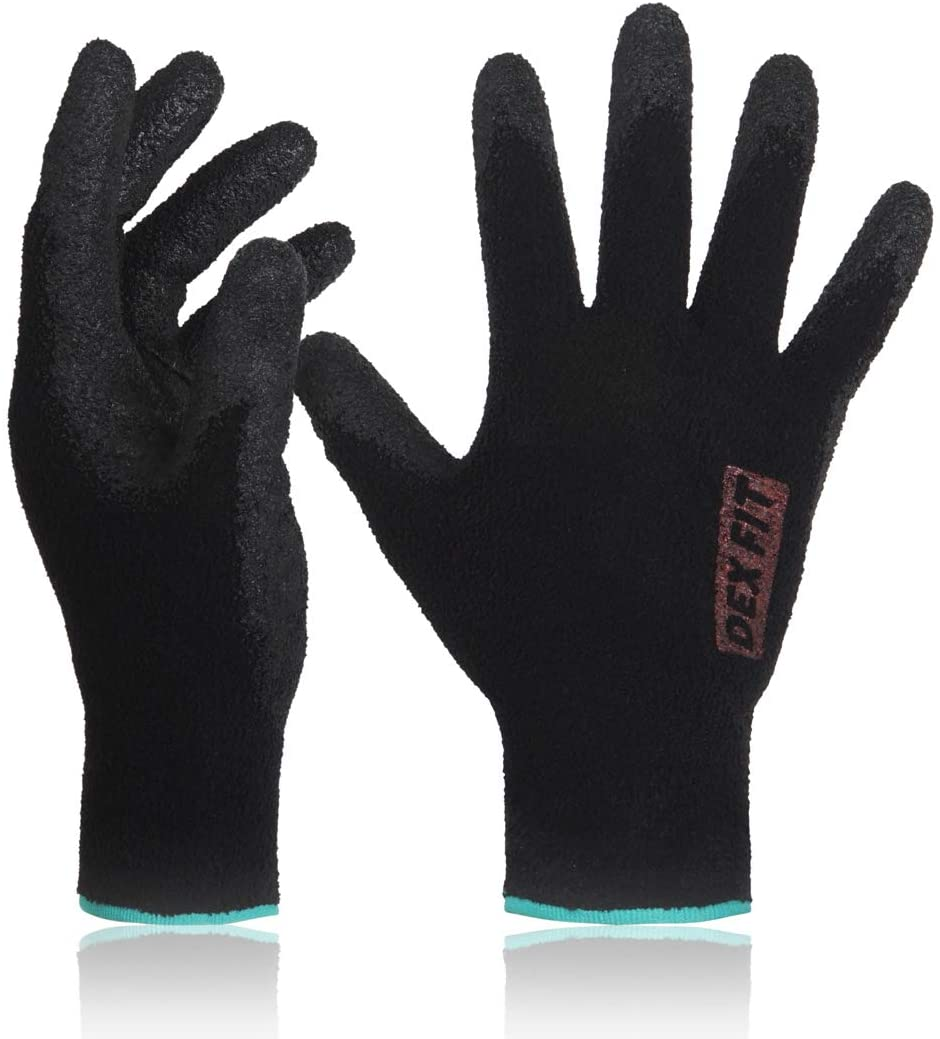 DEX FIT Warm Fleece Nitrile Work Gloves NR450, Comfort Stretch Fit, Power Grip, Durable Coating, Thin & Lightweight, Machine Washable, Black Small 3 Pairs