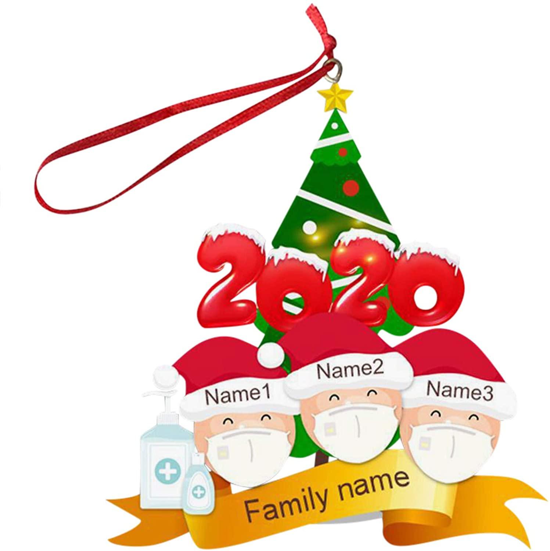 Cewtolkar 2020 Quarantine Christmas Decoration Gift Personalized Resin Christmas Tree Hanging Ornament Pandemic