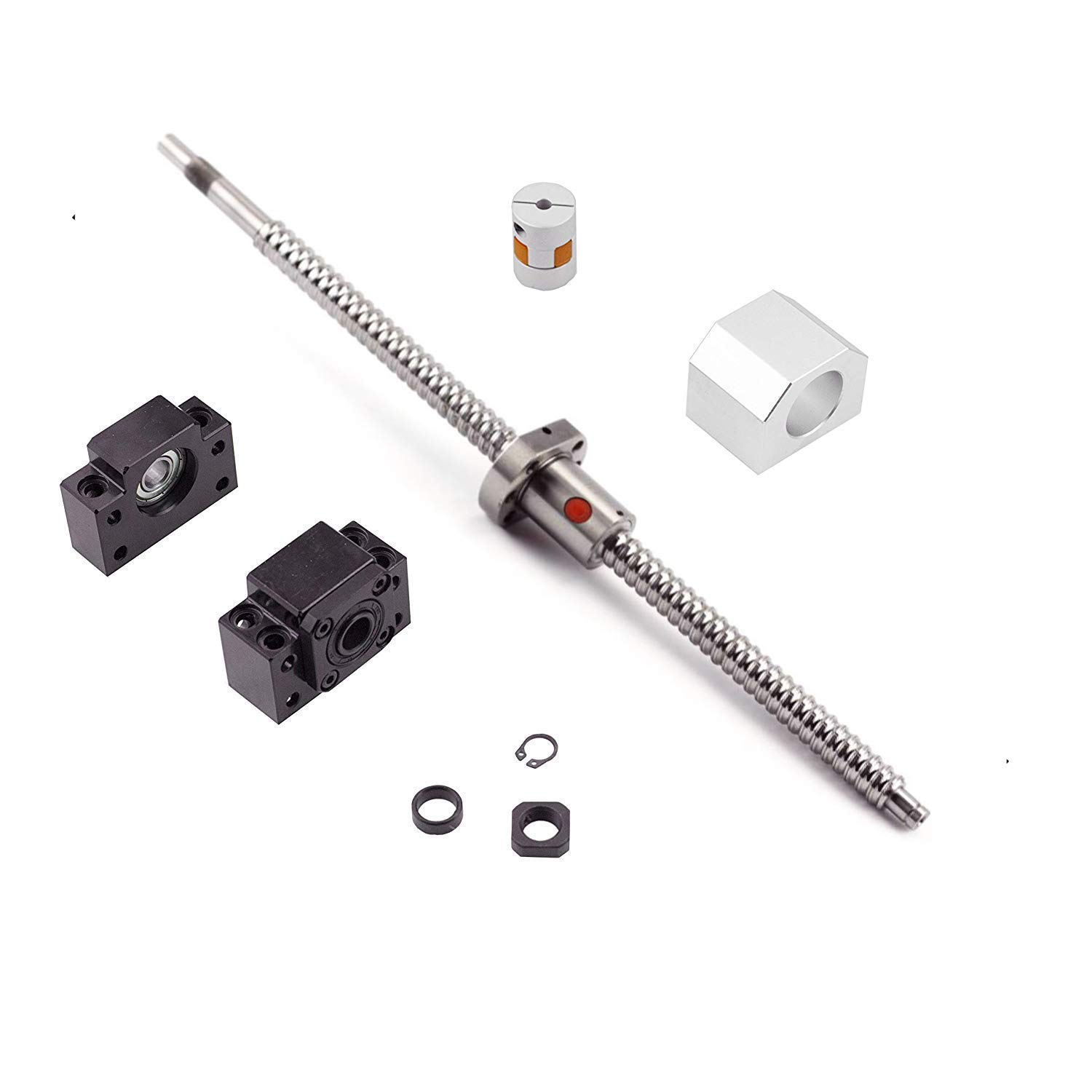 Ball Screw SFU1204 RM1204 Length 1000mm Diam 12mm with Ballnut and ballnut housing + end Supports BK/ BF10 + Coupler for CNC, Length Approx 39.4 inch/ 1000mm