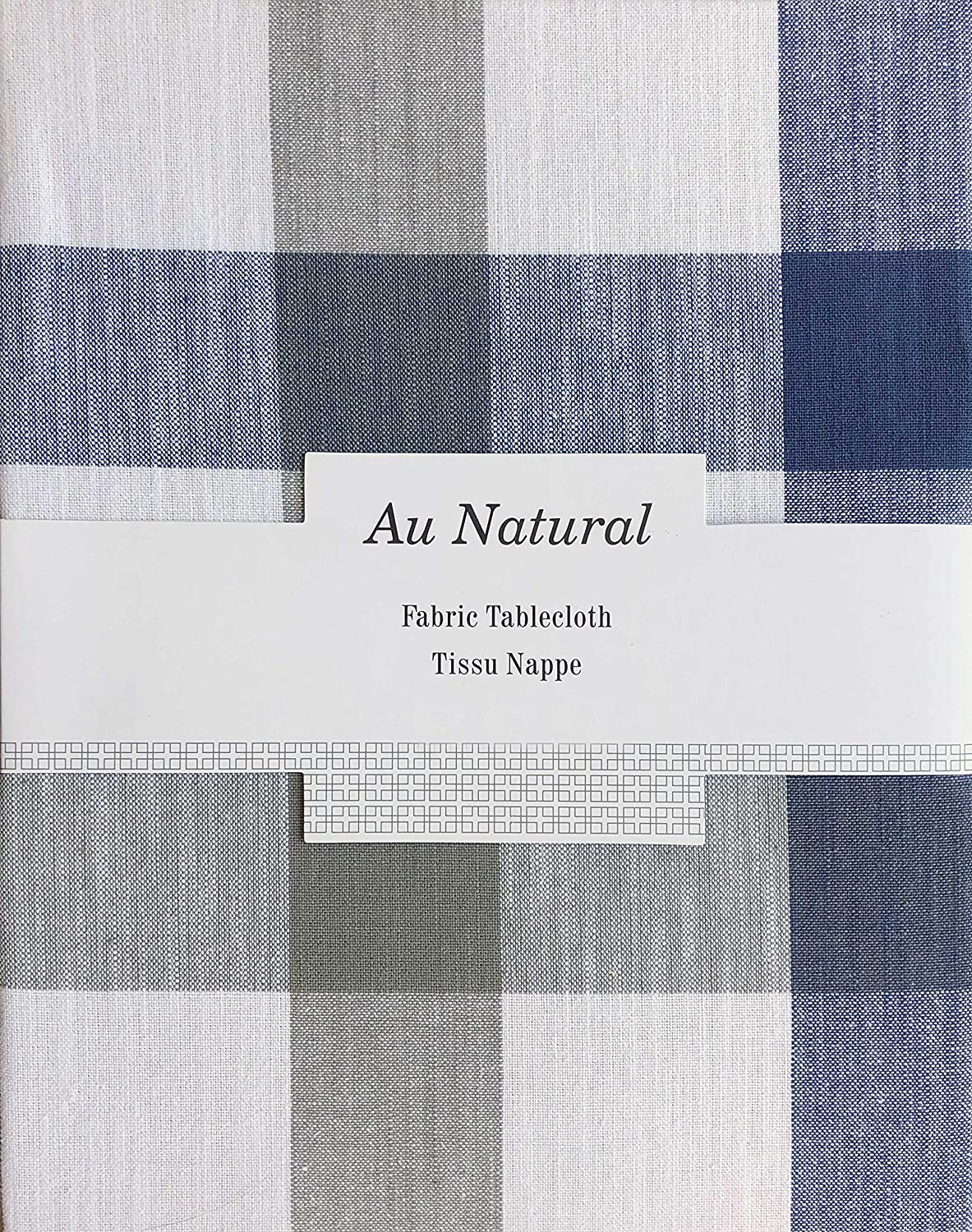 Natural Home Fabric Tablecloth Checked Plaid Pattern with Wide Stripes in Shades of Blue and Gray on White - 60 Inches Round