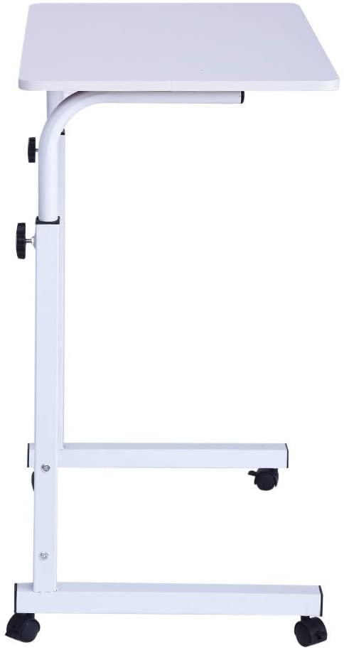 Laptop Desk Adjustable Computer Desk, Home Office Chair Can Be Lifted and Lowered Mobile Computer Desk Bedside Table (White)