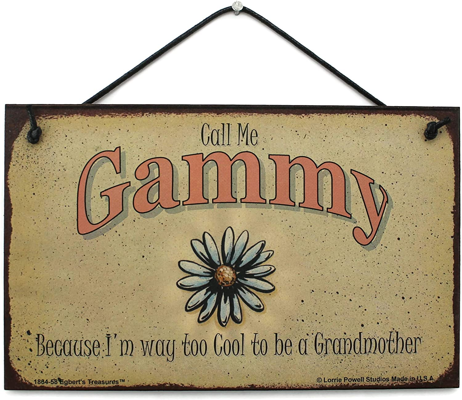 Egbert's Treasures 5x8 Vintage Style Sign with Daisy Saying, Call Me Gammy Because I'm Way Too Cool to be a Grandmother Decorative Fun Universal Household Signs from