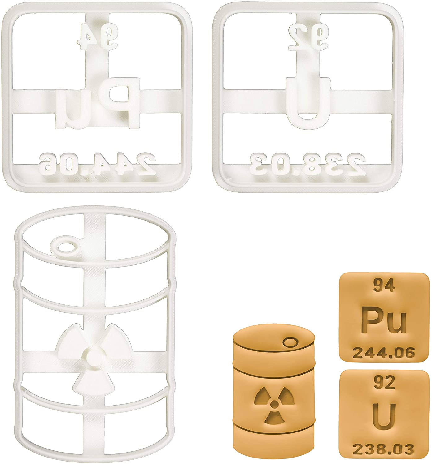 Set of 3 Radioactive themed cookie cutters (Designs: Nuclear Waste, Plutonium, Uranium periodic table element), 3 pieces