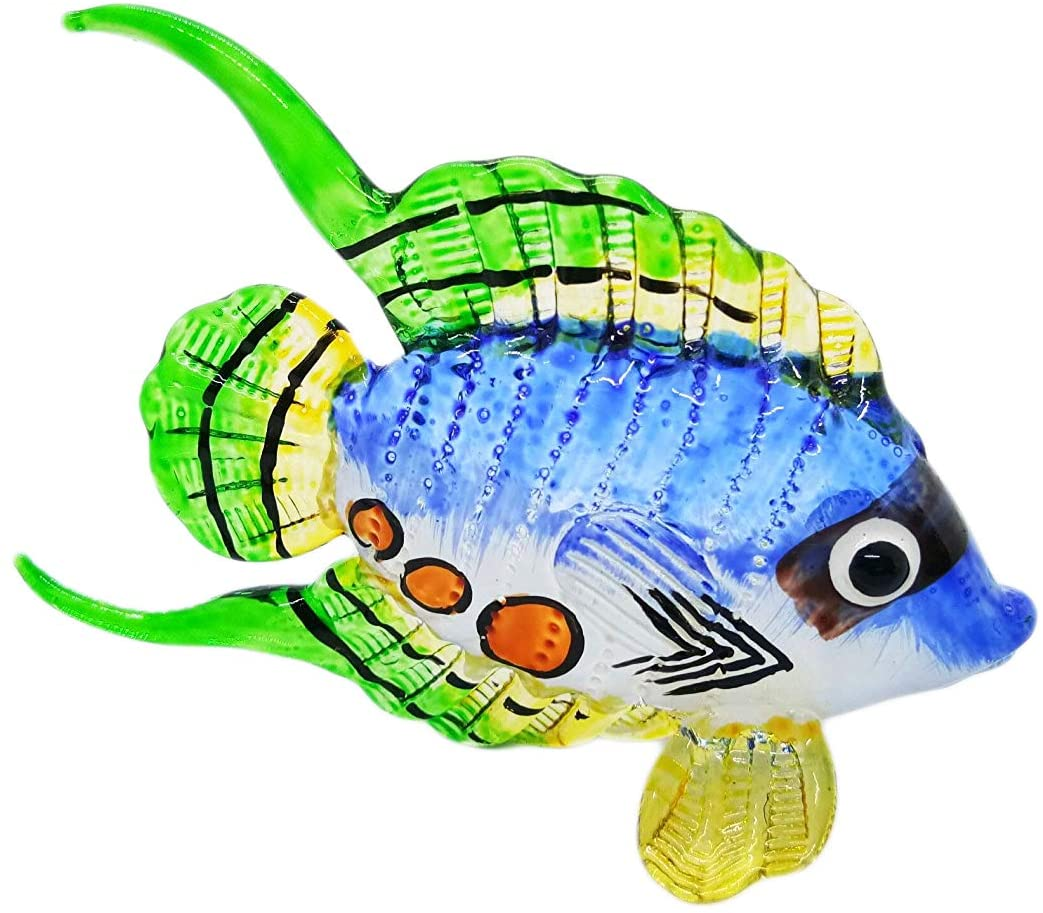 WitnyStore Glass Tropical Fish Figurine - Collectible Animal Art - Colored Hand Blown and Painted Glass Miniature Table Decor Collector's Item Perfect for Gifts and Souvenirs 3.15