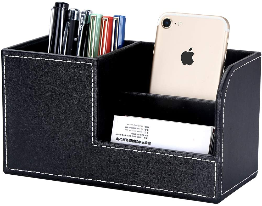 GORESE Leather Desk Organizer, Multifunctional Home & Office Organizer With Pen Holder, Remote Controller Holder And Business Name Cards Holder (Black)