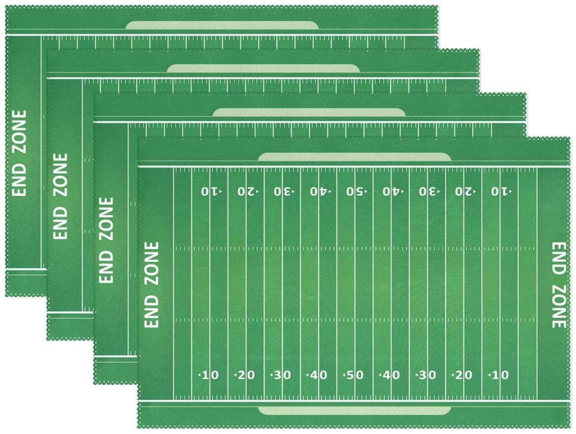 WOZO American Football Field Placemat Table Mat, Green Grass 12